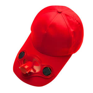 Caraselle Solar Powered Red Baseball Cap with Fan