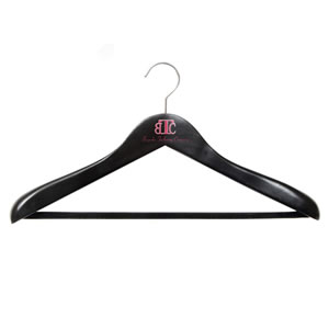 Caraselle Deluxe Shaped Black Wooden Suit Hanger 45cm wide with Wide Shoulders 4.5cm wide & a Black Velvet Covered Trouser Bar Chrome Swivel Hook. Logo : BTC