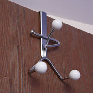 Caraselle Chrome Over Door Hanger with 3 White Ceramic Balls