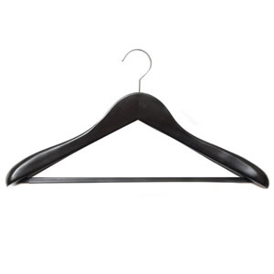 Caraselle Deluxe Shaped Black Wooden Suit Hanger 45cm wide with Wide Shoulders 4.5cm wide & a Black Velvet Covered Trouser Bar Chrome Swivel Hook.