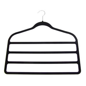 4 Bar Non-Slip Huggable Trouser Hanger in Black. 45cms wide, 43cm high & only 5mm deep