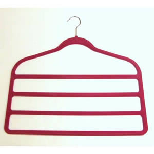 4 Bar Non-Slip Huggable Trouser Hanger in Deep Pink. 45cms wide, 43cm high & only 5mm deep