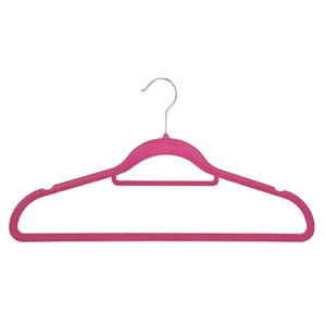 Non-Slip Huggable Hanger in Candy Pink with Tie/Belt Bar & Notches 45cm wide & 25cm high