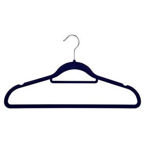 Non-Slip Huggable Hanger in Navy Blue with Tie/Belt Bar & Notches 45cm wide & 25cm high