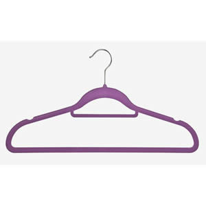 Non-Slip Huggable Hanger in Purple with Tie/Belt Bar & Notches 45cm wide & 25cm high