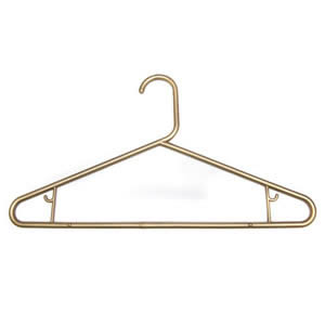 10 x Caraselle Robust Metallic Gold Polypropylene Suit Hangers 42cm wide with Skirt Hooks
