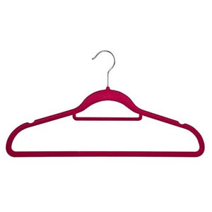 Non-Slip Huggable Hanger in Plum with Tie/Belt Bar & Notches 45cm wide & 25cm high