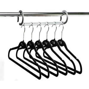 1  Caraselle Silver Multi-Hanging Bar with 6 Black Huggable Hangers - Hangs 6 Shirts / Trousers