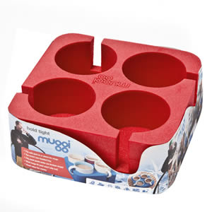 The Caraselle Red Muggi 4 Cup Holder Designed & made in England