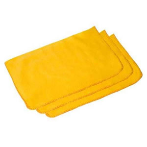 "Pack of 3 Quality 100% Cotton Yellow Dusters 50 x 40cm (20"" x 16"" approx)"