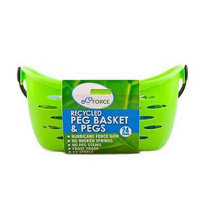 Ecoforce Peg Basket in green with a pack of 24 Strong Hurricane Force Grip Clothes Pegs made of Recycled Plastic