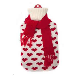 1.5 litre Natural Rubber Hot Water Bottle with Knitted Cover in Assorted Designs & Colours. Made to British Standard BS 1970 2006