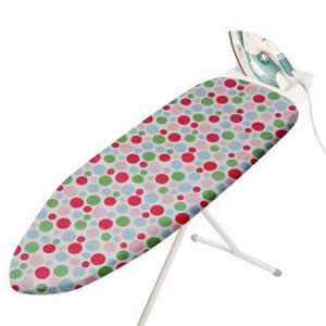 Standard Size Multi Coloured Spots Design 100% Cotton Ironing Board Cover with Thick Foam Backing &amp; Drawstrings. This Cover is Designed to fit Ironing Boards with an Ironing Surface of 96 x 38cms. Ironing Board not included