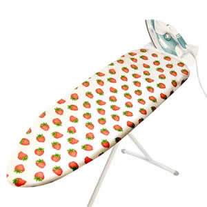 Elasticated STRAWBERRIES Design 100% Cotton Ironing Board Cover with Thick Foam Backing. This Cover is Designed to fit Ironing Boards with an Ironing Surface of 131 x 44cms.  Ironing Board not included