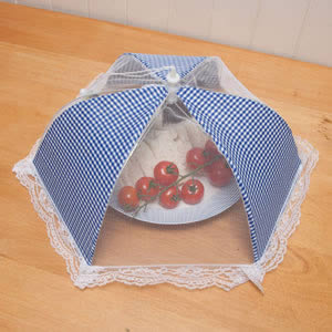 Caraselle Collapsible Polyester Mesh Food Cover, Blue Gingham 42cm dia