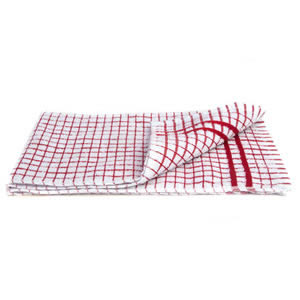 Caraselle Deluxe Terry Tea Towel in Small Red Check. 100% Egyptian Cotton. 41 x 66cm