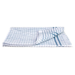 Caraselle Deluxe Terry Tea Towel in Small Blue Check. 100% Egyptian Cotton. 41 x 66cm