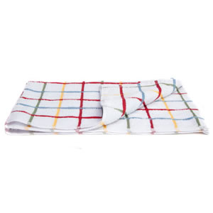 Caraselle pack of 3 x Deluxe Terry Tea Towels in Multi Colour Check. 45 x 70cm 100% Egytpian Cotton