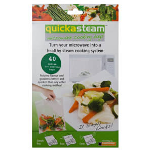 Caraselle Quickasteam Microwave Cooking Bag 2-4 servings, 40 bags per pack