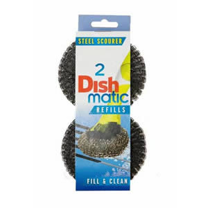 Pack of 2 Dishmatic Steel Scourer Refill Heads for cleaning BBQ's, Hot Plates, Steel Pots & Pans