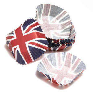 Caraselle Pack of 72 Medium Cupcake Paper Cases with Union Jack Design