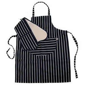 Set of C'est Ca! Classic Butchers Stripe Design Double Oven Gloves & Kitchen Apron in navy & white made in the UK