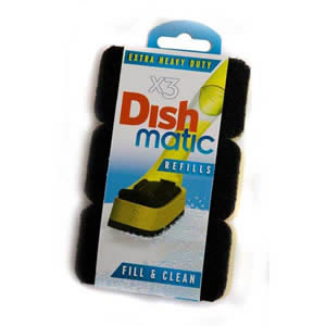 3 Extra Heavy Duty Dishmatic Black Refill Sponges