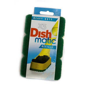 3 Heavy Duty Dishmatic Green Refill Sponges