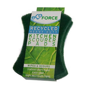 Pack of 3 x Green Ecoforce Recycled Heavy Duty Kitchen Scourer Pads
