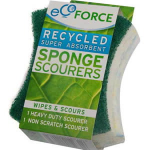 Pack of 2 Ecoforce Recycled Super Absorbent Sponge Scourers for the Kitchen: 1 x Heavy Duty &amp; 1 x Non-Scratch