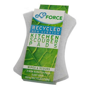 3x White Ecoforce Recycled Non-Scratch Kitchen Scourer Pads