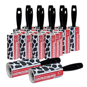 The Caraselle pack of 12 x New Cowhide Design 7.5m Roller Brushes & 12 x Roller Refills