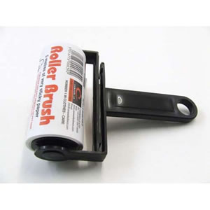 Black Trident Sticky Roller Brush 5m long roll of sticky paper with adhesive surface which can be torn off & thrown away once used. Designed for removing lint, dust & animal hair from clothes & upholstery