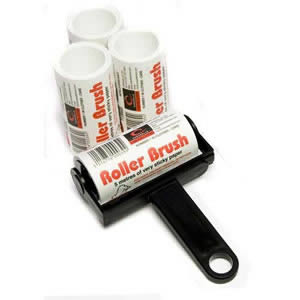 Black Trident Sticky Roller Brush and 3 Refills (20m of sticky paper) with adhesive surface which can be torn off & thrown away once used. Designed for removing lint, dust & animal hair from clothes & upholstery