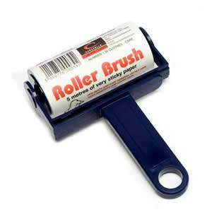 Navy Trident Sticky Roller Brush 5m long roll of sticky paper with adhesive surface which can be torn off & thrown away once used. Designed for removing lint, dust & animal hair from clothes & upholstery