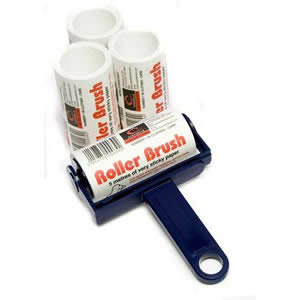 Navy Blue Trident Sticky Roller Brush and 3 Refills (20m of sticky paper) with adhesive surface which can be torn off & thrown away once used. Designed for removing lint, dust & animal hair from clothes & upholstery