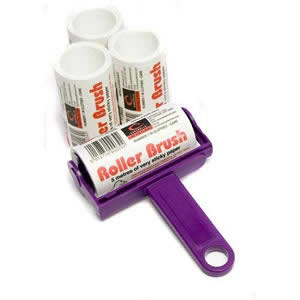 Purple Trident Sticky Roller Brush and 3 Refills (20m of sticky paper) with adhesive surface which can be torn off &amp; thrown away once used. Designed for removing lint, dust &amp; animal hair from clothes &amp; upholstery