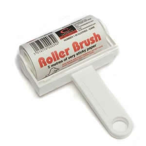 White Trident Sticky Roller Brush 5m long roll of sticky paper with adhesive surface which can be torn off & thrown away once used. Designed for removing lint, dust & animal hair from clothes & upholstery