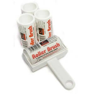 White Trident Sticky Roller Brush and 3 Refills (20m of sticky paper) with adhesive surface which can be torn off &amp; thrown away once used. Designed for removing lint, dust &amp; animal hair from clothes &amp; upholstery
