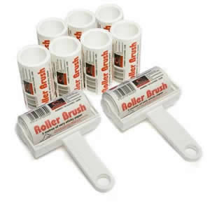 2 x White Trident Sticky Roller Brushes plus 7 Refills with 45m long roll of sticky paper with adhesive surface which can be torn off & thrown away once used. Designed for removing lint, dust & animal hair from clothes & upholstery
