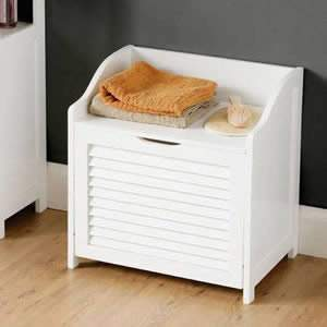 White Wood Shaker Style Storage Chest with hinged lid