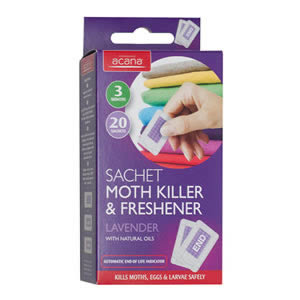 Acana Moth Killer &amp; Freshener Sachets pack of 20 from Caraselle