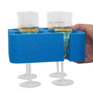Blue Champagne & Wine Glass Muggi Holder Designed & made in England