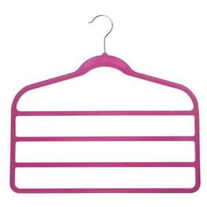 4 Bar Non-Slip Huggable Trouser Hanger in Shocking Pink. 45cms wide, 43cm high & only 5mm deep
