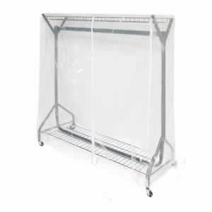 Clear PVC Rail Cover for a 4' Wide Garment Rail with Extended Height