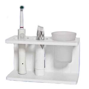 Freestanding White Shaker style Toothbrush Holder