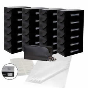 25 x Caraselle Black Ladies Shoe Boxes + 12 Clear Adhesive PVC Pockets + 25 sheets of Acid Free Tissue Paper