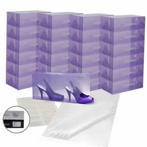 25 x Caraselle Lilac Ladies Shoe Boxes + 12 Clear Adhesive PVC Pockets + 25 sheets of Acid Free Tissue Paper
