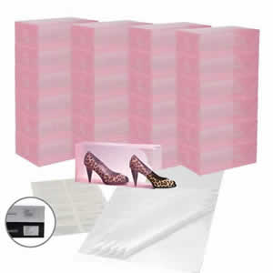 25 x Caraselle Pink Ladies Shoe Boxes + 12 Clear Adhesive PVC Pockets + 25 sheets of Acid Free Tissue Paper