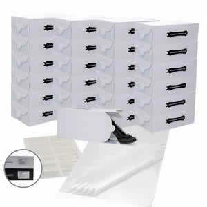 25 x Caraselle White Ladies Shoe Boxes + 12 Clear Adhesive PVC Pockets + 25 sheets of Acid Free Tissue Paper